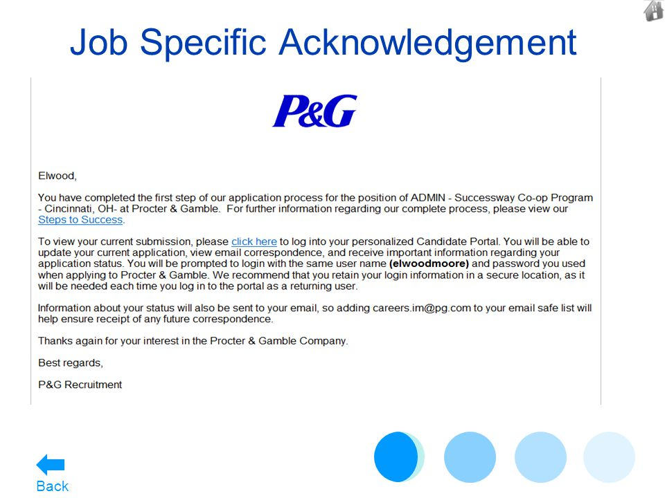 Job Specific Acknowledgement Back