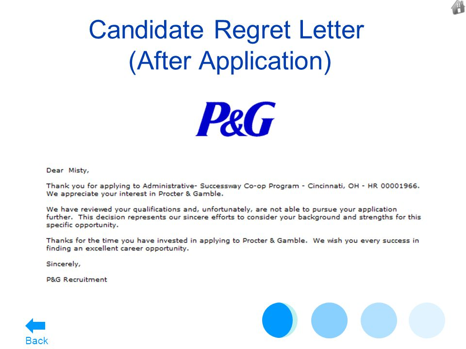 Candidate Regret Letter (After Application) Back