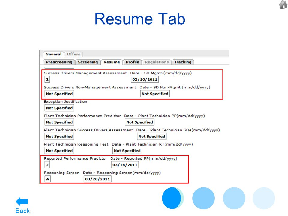 Resume Tab Back