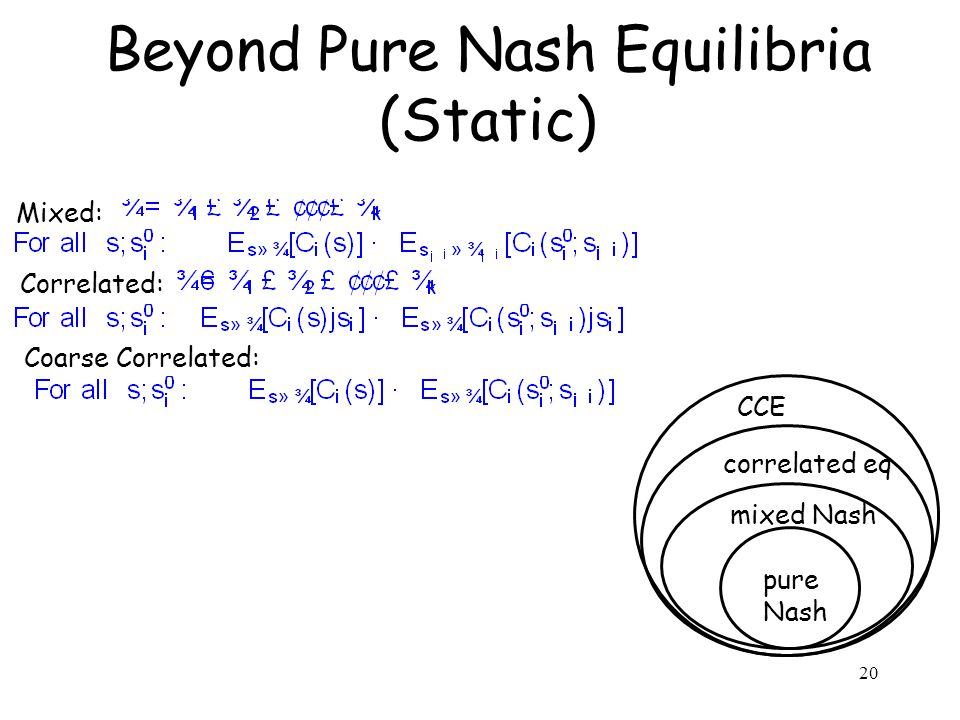 Beyond Pure Nash Equilibria (Static) 20 pure Nash mixed Nash correlated eq CCE Mixed: Correlated: Coarse Correlated: