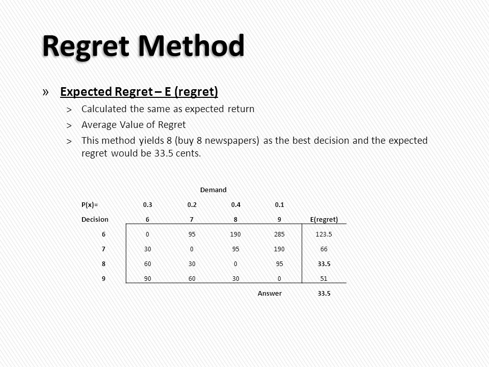 Regret Method » Expected Regret – E (regret) ˃Calculated the same as expected return ˃Average Value of Regret ˃This method yields 8 (buy 8 newspapers) as the best decision and the expected regret would be 33.5 cents.