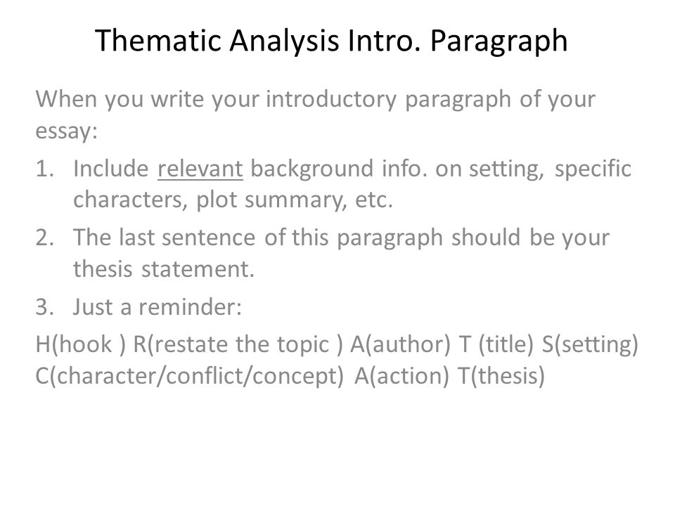 Thematic Analysis Essay