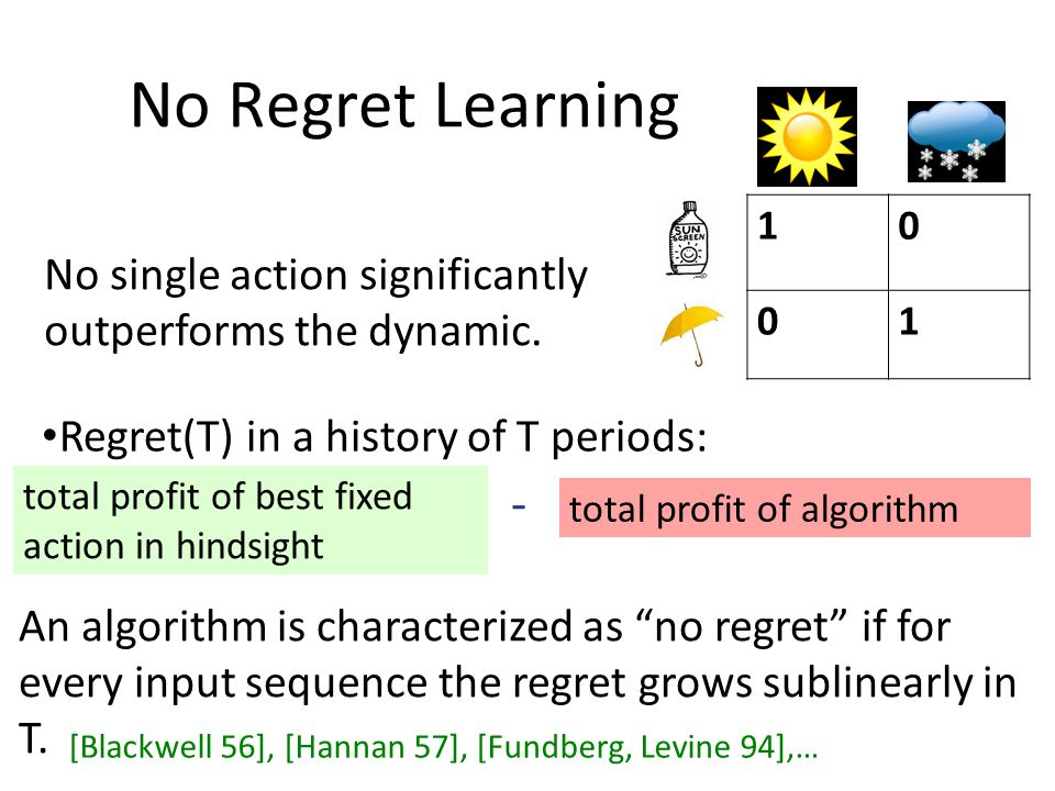 Regret(T) in a history of T periods: total profit of algorithm total profit of best fixed action in hindsight - An algorithm is characterized as no regret if for every input sequence the regret grows sublinearly in T.