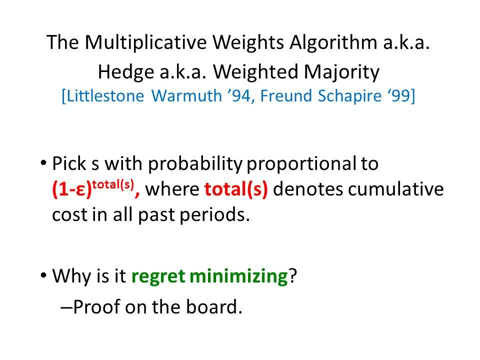 The Multiplicative Weights Algorithm a.k.a. Hedge a.k.a.