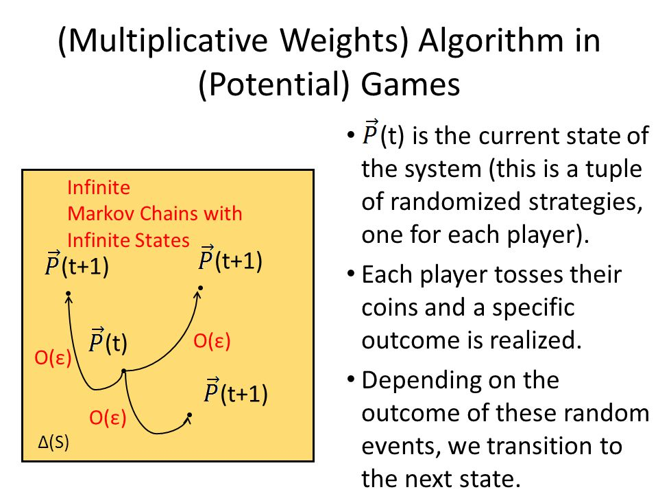 (t) is the current state of the system (this is a tuple of randomized strategies, one for each player).