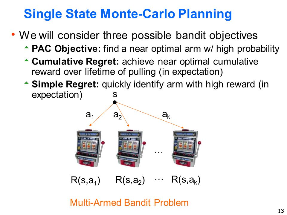 13 Single State Monte-Carlo Planning  We will consider three possible bandit objectives  PAC Objective: find a near optimal arm w/ high probability  Cumulative Regret: achieve near optimal cumulative reward over lifetime of pulling (in expectation)  Simple Regret: quickly identify arm with high reward (in expectation) s a1a1 a2a2 akak R(s,a 1 ) R(s,a 2 ) R(s,a k ) Multi-Armed Bandit Problem … …