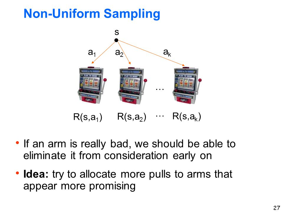 27 Non-Uniform Sampling s a1a1 a2a2 akak R(s,a 1 ) R(s,a 2 ) R(s,a k ) … …  If an arm is really bad, we should be able to eliminate it from considera