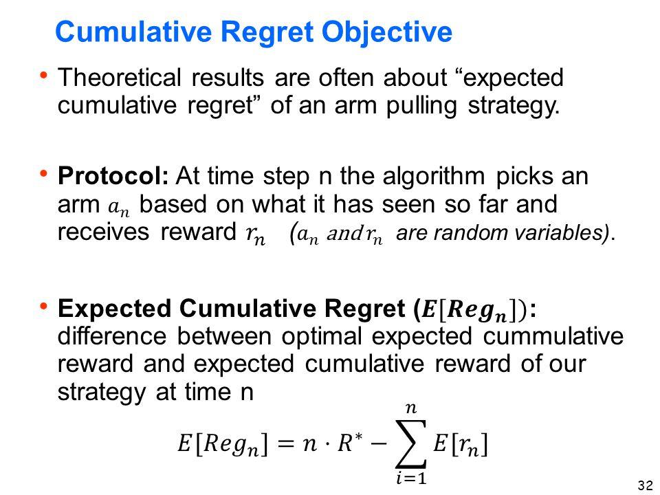 32 Cumulative Regret Objective