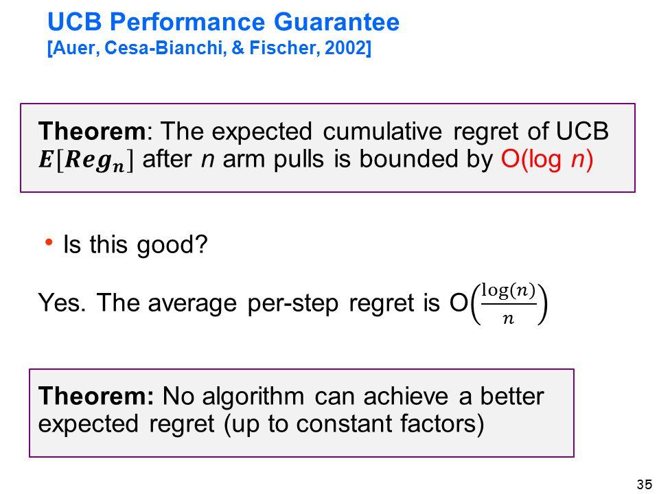 35 UCB Performance Guarantee [Auer, Cesa-Bianchi, & Fischer, 2002]