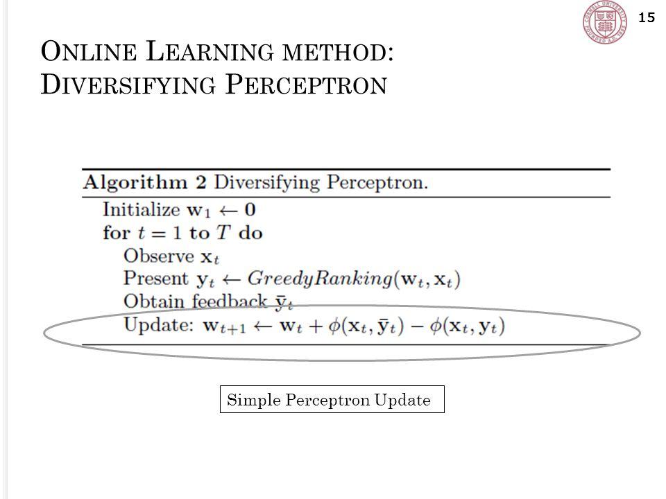 O NLINE L EARNING METHOD : D IVERSIFYING P ERCEPTRON 15 Simple Perceptron Update