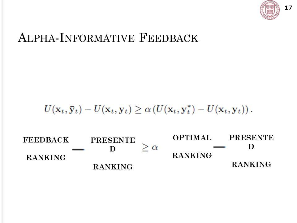 A LPHA -I NFORMATIVE F EEDBACK 17 PRESENTE D RANKING PRESENTE D RANKING OPTIMAL RANKING FEEDBACK RANKING