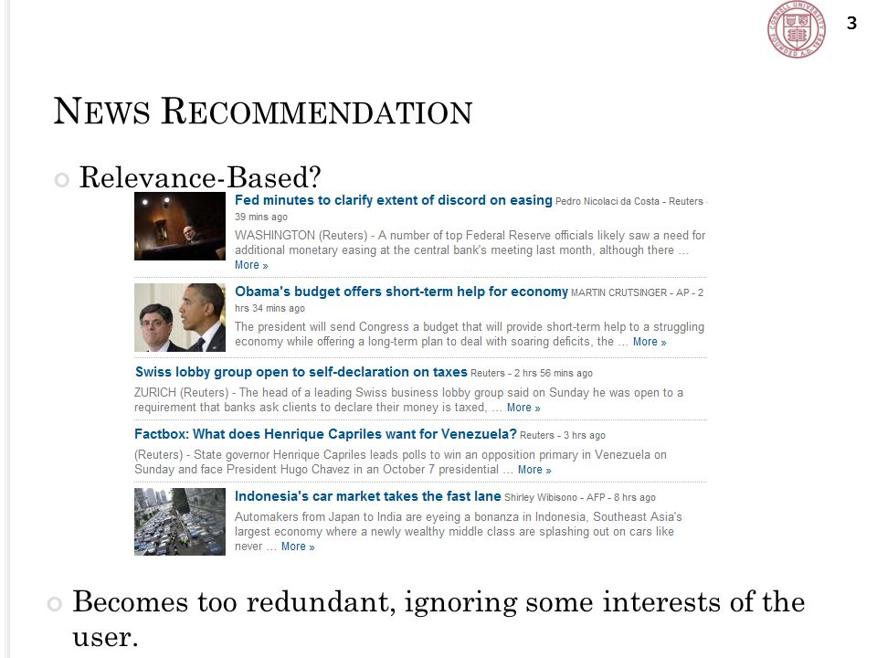 N EWS R ECOMMENDATION Relevance-Based.