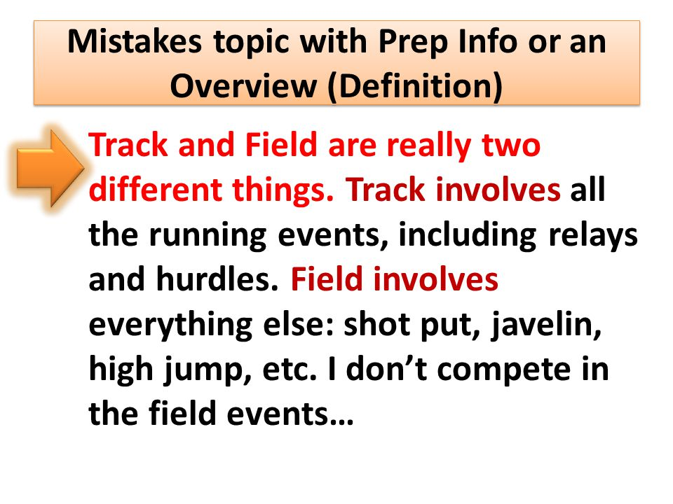 Track and Field are really two different things.