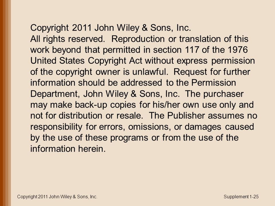 Copyright 2011 John Wiley & Sons, Inc.Supplement 1-25 Copyright 2011 John Wiley & Sons, Inc.