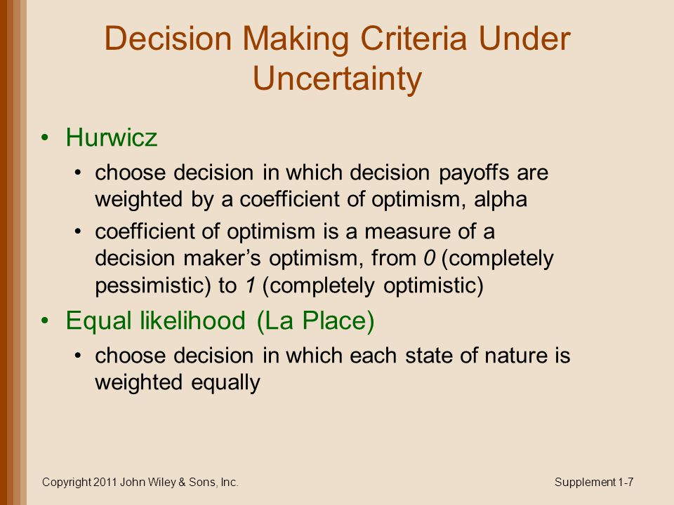 Decision Making Criteria Under Uncertainty Hurwicz choose decision in which decision payoffs are weighted by a coefficient of optimism, alpha coefficient of optimism is a measure of a decision maker's optimism, from 0 (completely pessimistic) to 1 (completely optimistic) Equal likelihood (La Place) choose decision in which each state of nature is weighted equally Copyright 2011 John Wiley & Sons, Inc.Supplement 1-7