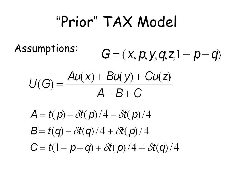 """""""Prior"""" TAX Model Assumptions:"""