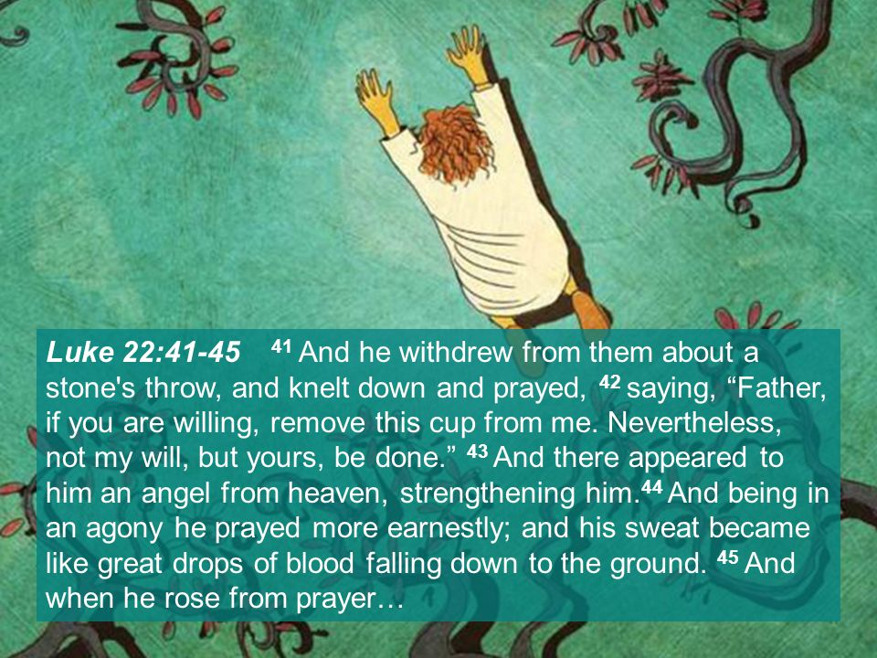 Luke 22:41-45 41 And he withdrew from them about a stone s throw, and knelt down and prayed, 42 saying, Father, if you are willing, remove this cup from me.