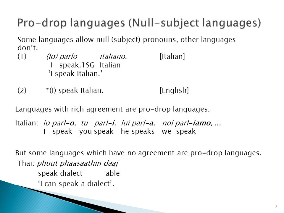 3 Some languages allow null (subject) pronouns, other languages don't. (1)(Io) parlo italiano.[Italian] I speak.1SG Italian 'I speak Italian.' (2)*(I)