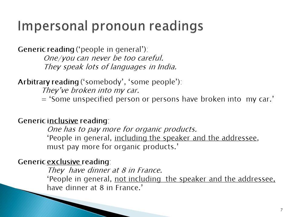38 TP T VP PST VP uD 3 3 SG SGshrb l-qehwa Impersonal pronouns have no D-feature.