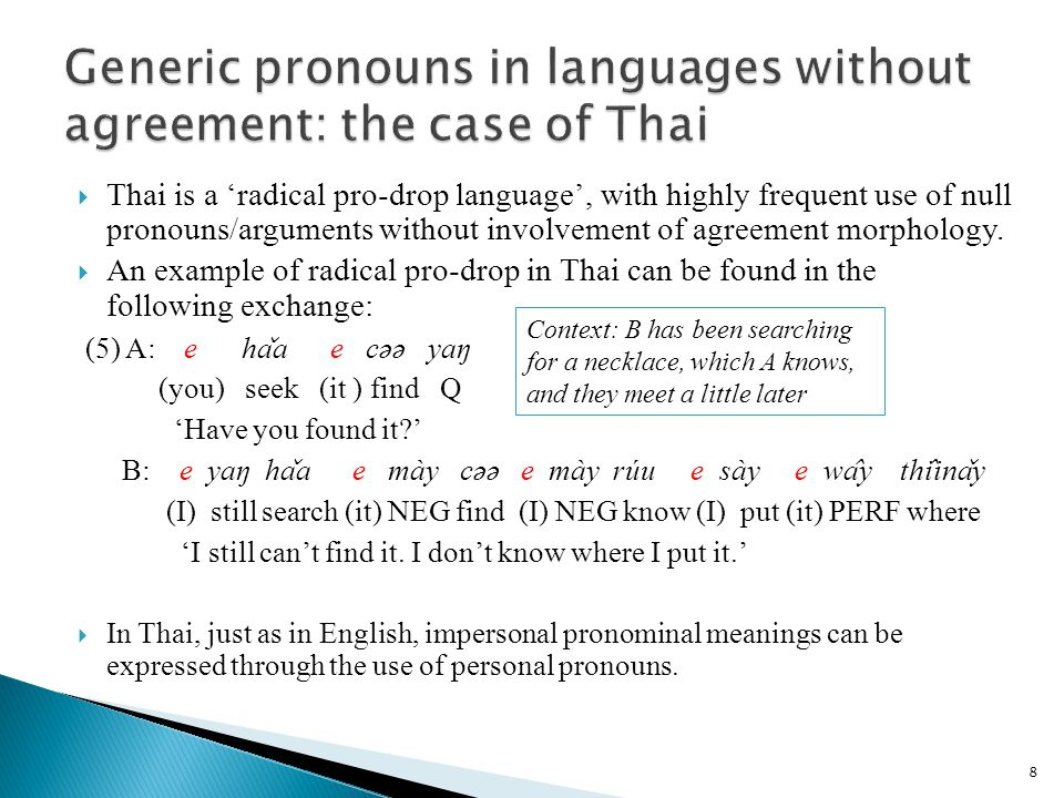 39 Personal pronouns have a D-feature.Impersonal pronouns have no D-feature.