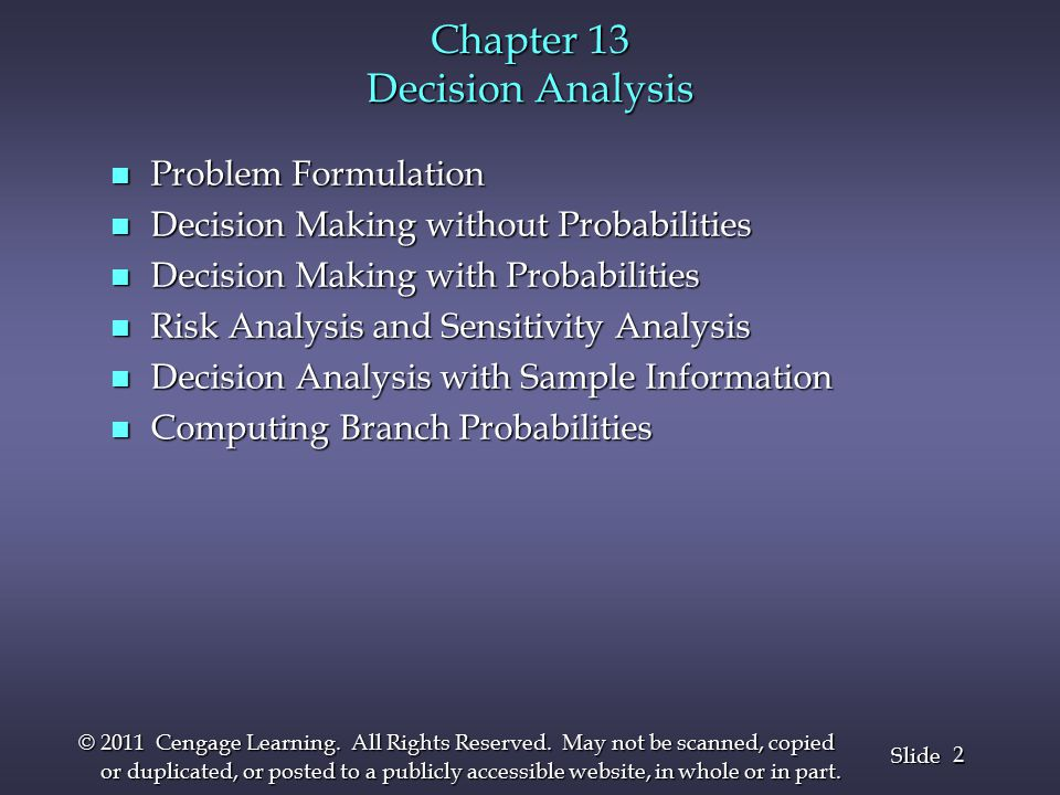 3 3 Slide © 2011 Cengage Learning.All Rights Reserved.