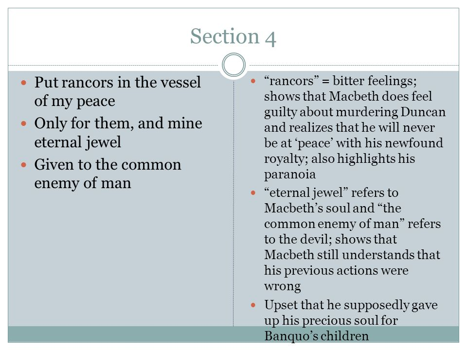 Section 5 To make the kings, the seeds of Banquo kings.