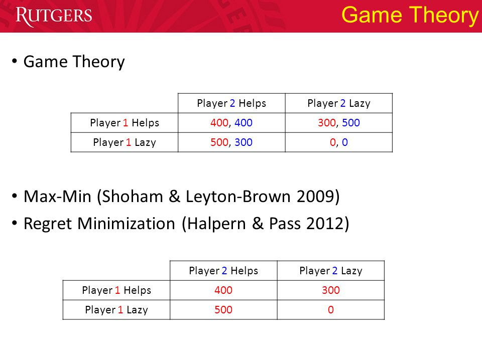 Game Theory Max-Min (Shoham & Leyton-Brown 2009) Regret Minimization (Halpern & Pass 2012) Player 2 HelpsPlayer 2 Lazy Player 1 Helps400300 Player 1 L
