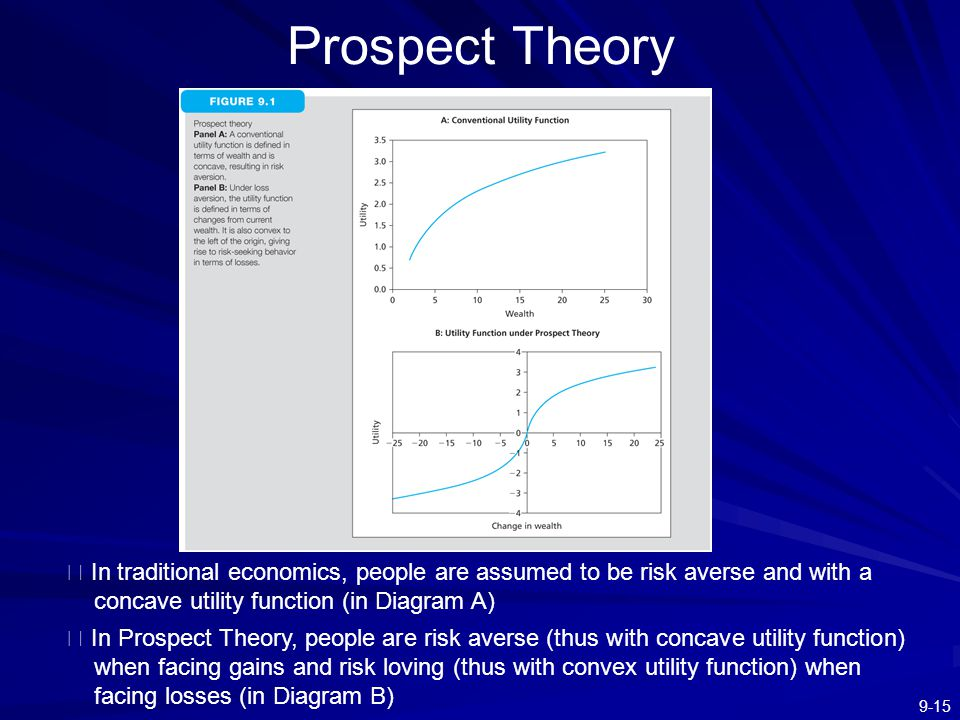 9-15 Prospect Theory ※ In traditional economics, people are assumed to be risk averse and with a concave utility function (in Diagram A) ※ In Prospect