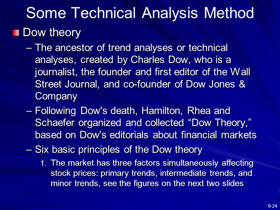 9-24 Some Technical Analysis Method Dow theory –The ancestor of trend analyses or technical analyses, created by Charles Dow, who is a journalist, the