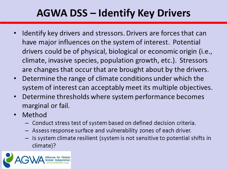 AGWA DSS – Identify Key Drivers Identify key drivers and stressors.