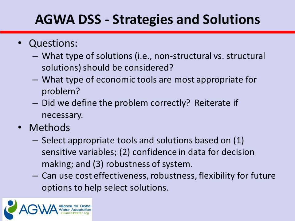 AGWA DSS - Strategies and Solutions Questions: – What type of solutions (i.e., non-structural vs.