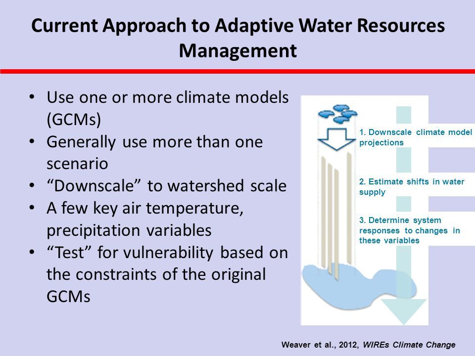 Current Approach to Adaptive Water Resources Management Use one or more climate models (GCMs) Generally use more than one scenario Downscale to watershed scale A few key air temperature, precipitation variables Test for vulnerability based on the constraints of the original GCMs 1.