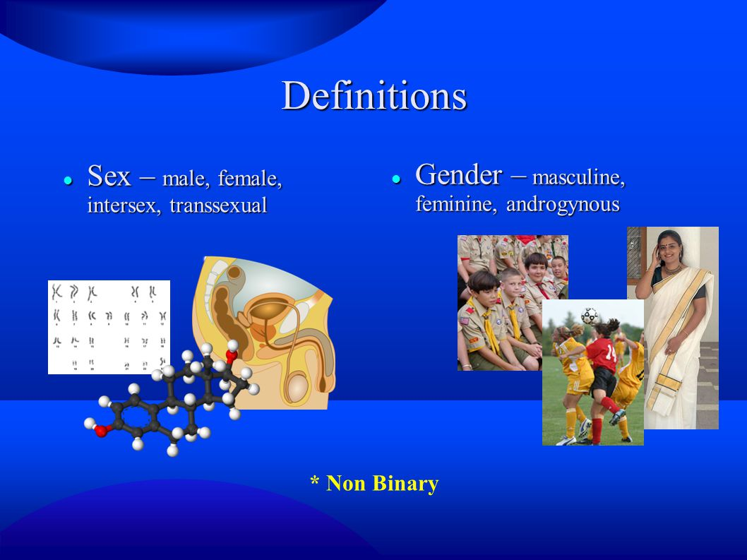 Definitions Sex – male, female, intersex, transsexual Sex – male, female, intersex, transsexual Gender – masculine, feminine, androgynous Gender – masculine, feminine, androgynous * Non Binary