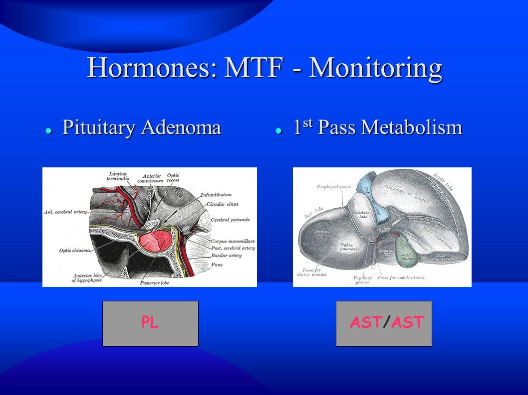 Hormones: MTF - Monitoring Pituitary Adenoma Pituitary Adenoma 1 st Pass Metabolism 1 st Pass Metabolism AST/ASTPL