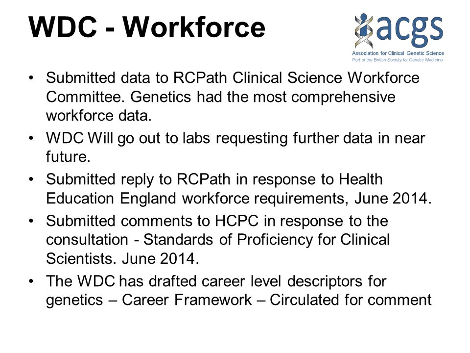 WDC - Workforce Submitted data to RCPath Clinical Science Workforce Committee.