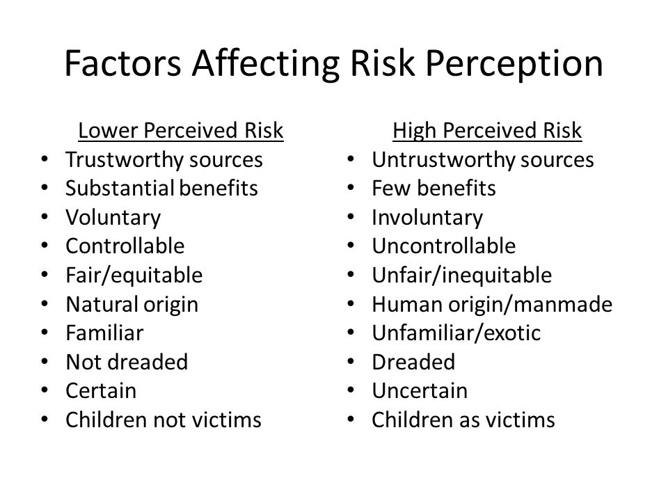 Factors Affecting Risk Perception Lower Perceived Risk Trustworthy sources Substantial benefits Voluntary Controllable Fair/equitable Natural origin Familiar Not dreaded Certain Children not victims High Perceived Risk Untrustworthy sources Few benefits Involuntary Uncontrollable Unfair/inequitable Human origin/manmade Unfamiliar/exotic Dreaded Uncertain Children as victims
