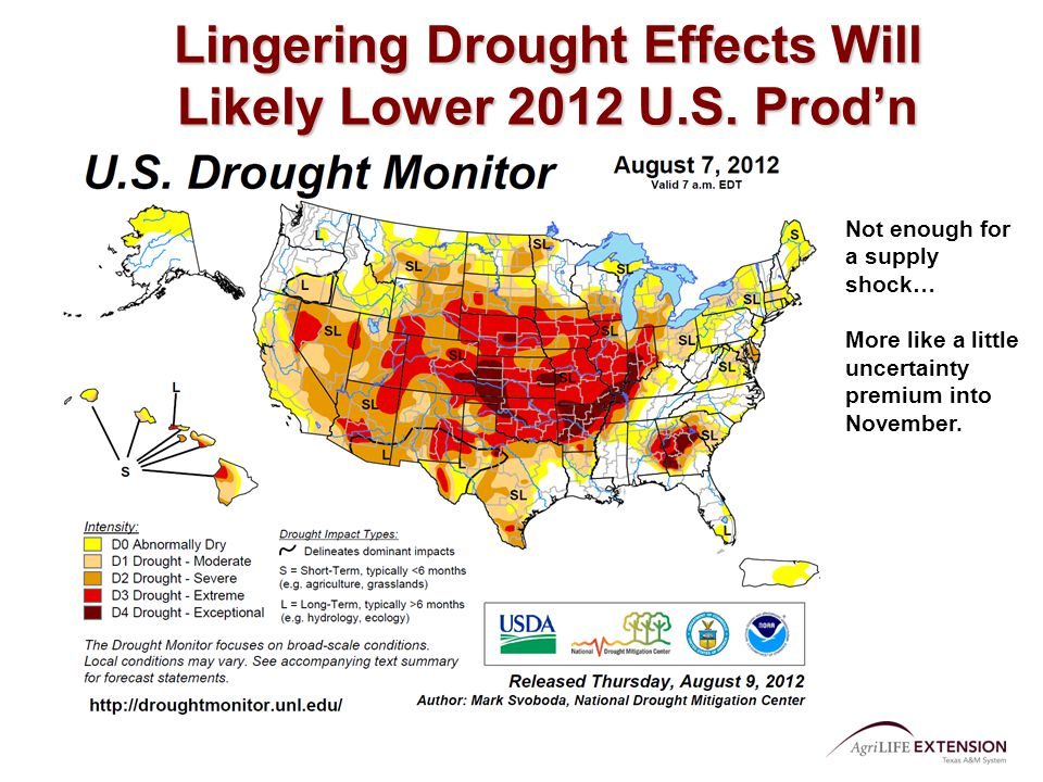 Lingering Drought Effects Will Likely Lower 2012 U.S.