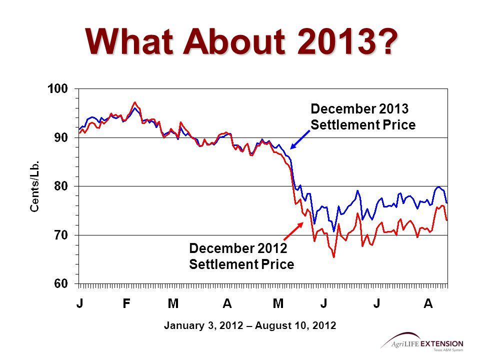 What About 2013? December 2012 Settlement Price December 2013 Settlement Price January 3, 2012 – August 10, 2012