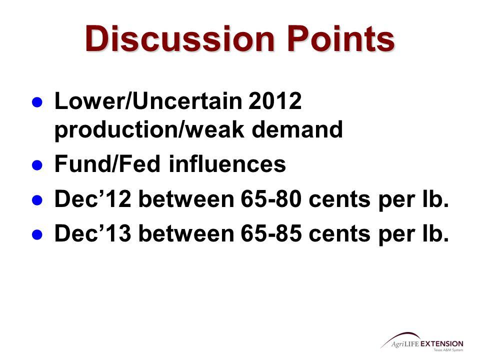 Discussion Points ●Lower/Uncertain 2012 production/weak demand ●Fund/Fed influences ●Dec'12 between 65-80 cents per lb.