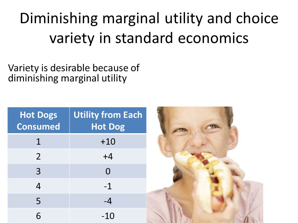 Diminishing marginal utility and choice variety in standard economics Variety is desirable because of diminishing marginal utility Hot Dogs Consumed Utility from Each Hot Dog 1+10 2+4 30 4 5-4 6-10