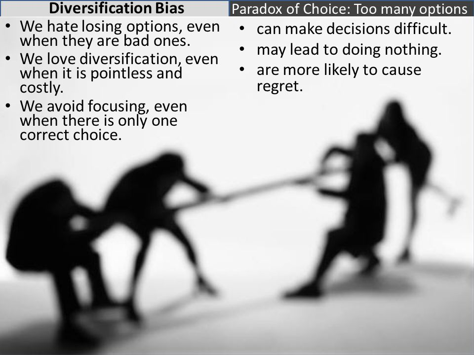 Diversification Bias We hate losing options, even when they are bad ones.