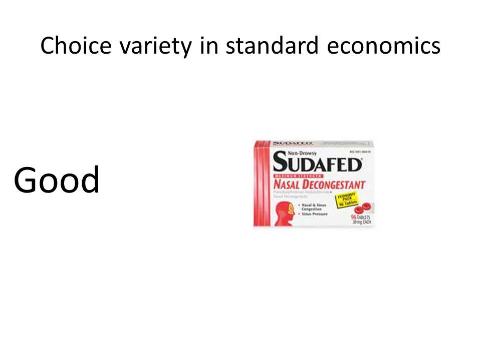 Choice variety in standard economics Good