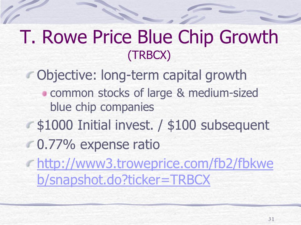T. Rowe Price Blue Chip Growth (TRBCX) Objective: long-term capital growth common stocks of large & medium-sized blue chip companies $1000 Initial inv