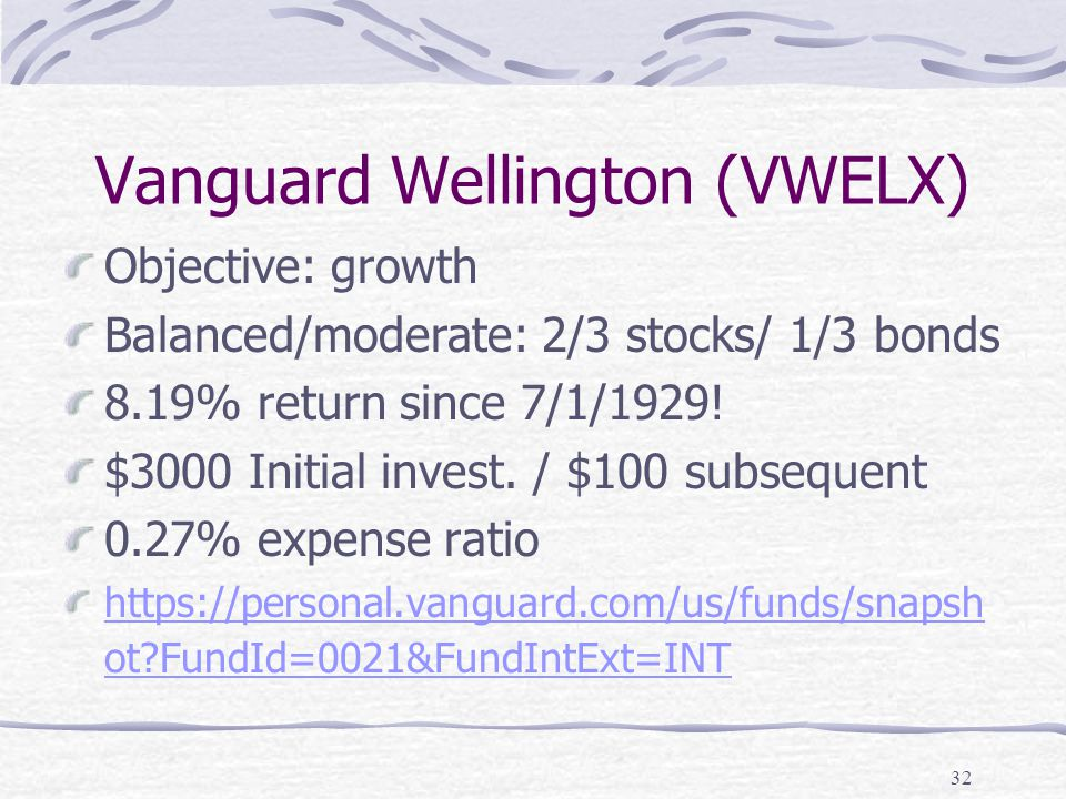 Vanguard Wellington (VWELX) Objective: growth Balanced/moderate: 2/3 stocks/ 1/3 bonds 8.19% return since 7/1/1929.