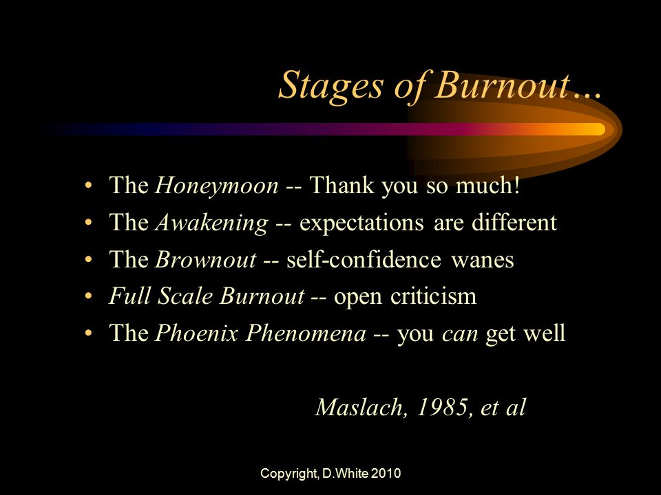 Copyright, D.White 2010 Stages of Burnout… The Honeymoon -- Thank you so much! The Awakening -- expectations are different The Brownout -- self-confid