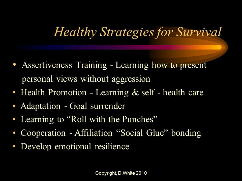 Copyright, D.White 2010 Healthy Strategies for Survival Assertiveness Training - Learning how to present personal views without aggression Health Prom