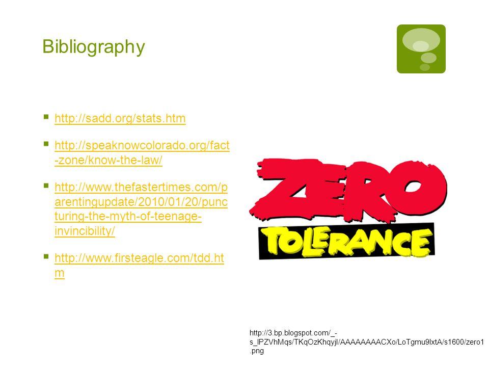 Bibliography  http://sadd.org/stats.htm http://sadd.org/stats.htm  http://speaknowcolorado.org/fact -zone/know-the-law/ http://speaknowcolorado.org/fact -zone/know-the-law/  http://www.thefastertimes.com/p arentingupdate/2010/01/20/punc turing-the-myth-of-teenage- invincibility/ http://www.thefastertimes.com/p arentingupdate/2010/01/20/punc turing-the-myth-of-teenage- invincibility/  http://www.firsteagle.com/tdd.ht m http://www.firsteagle.com/tdd.ht m http://3.bp.blogspot.com/_- s_lPZVhMqs/TKqOzKhqyjI/AAAAAAAACXo/LoTgmu9lxtA/s1600/zero1.png