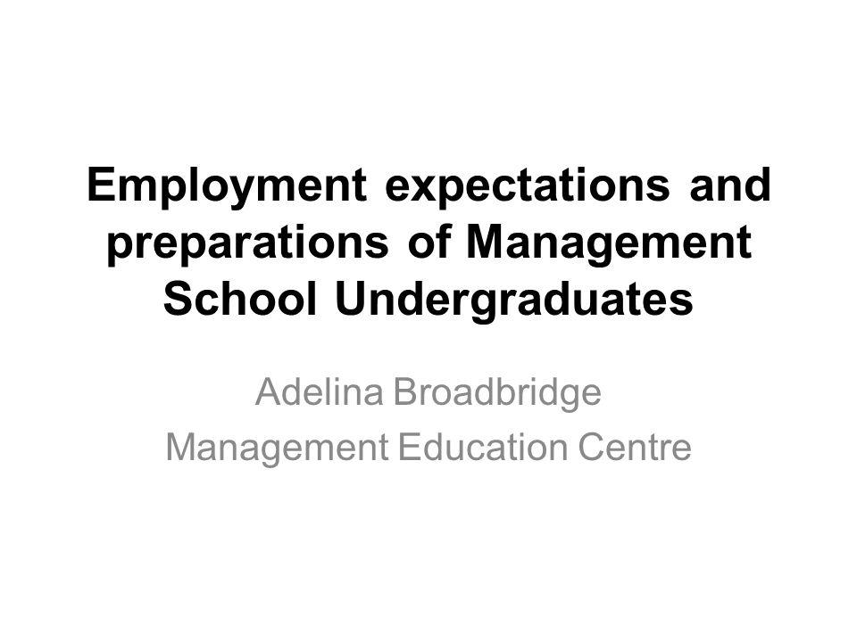 Employment expectations and preparations of Management School Undergraduates Adelina Broadbridge Management Education Centre
