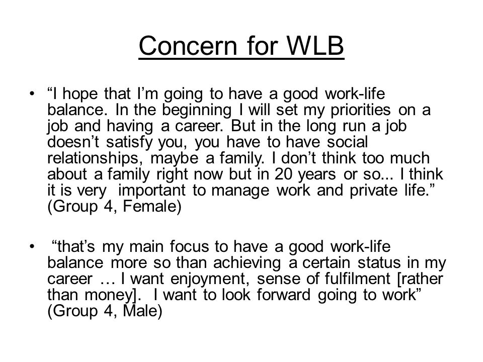 Concern for WLB I hope that I'm going to have a good work-life balance.