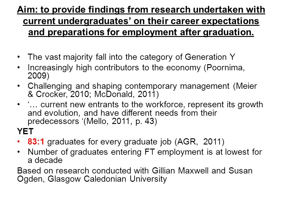 Aim: to provide findings from research undertaken with current undergraduates' on their career expectations and preparations for employment after graduation.